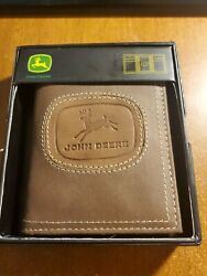 Nice New Leather John Deere Brown Trifold Wallet Great Gift!