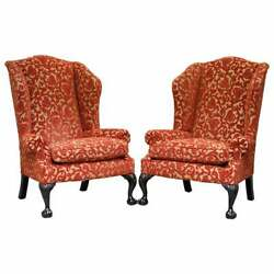 RRP £9378 PAIR OF GEORGE SMITH CHELSEA LARGE WINGBACK ARMCHAIRS CLAW
