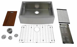 Auric 30 Curved Apron-front Workstation Farmhouse Kitchen Sink Single Bowl