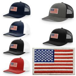 Richardson Cap  112 American Flag Patch designs  Red White & Blue USA Patch