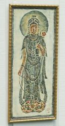 Antique Thailand Temple Rubbing Signed Stamp Rice Paper Framed Buddha