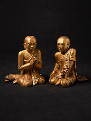 Antique Pair Of Monk Statues From Burma, 19th Century