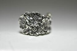 Spoon Ring Floral Flowers Forget_me_not Band Sterling Silver Women Girls