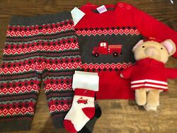 NWT Gymboree boy 2-5 piece HOLIDAY red fire truck WINTER sweater SET 0 3 6 12 18 $22.99