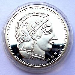 Greece Silver Proof Commemorative Medal 30 Years Greek Mint - Head Of Athena