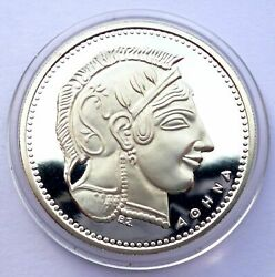 Greece Silver Proof Commemorative Medal Bank Of Greece 1982 - Head Of Athena