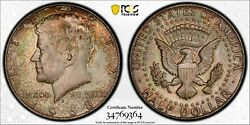 1968-d Silver Kennedy Half Dollar Pcgs Ms65 Unc Monster Neon Color Toned Dr