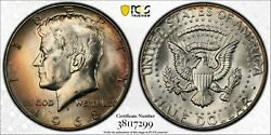1968-d Silver Kennedy Half Dollar Pcgs Ms65 Monster Toned Unc Multi Color Dr