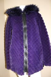 Nwt Quilted Fur/leather Hooded Coat Size M 7500