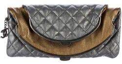 New Chanel 2015 Quilted Frame Clutch Bag Metallic Leather Silver Gold CC Charm