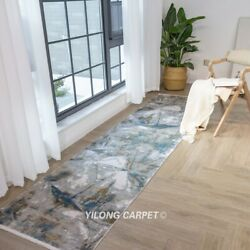 Yilong 2.6and039x10and039 Modern Handmade Bamboo Silk Rug Runner Eco Friendly Carpets T022