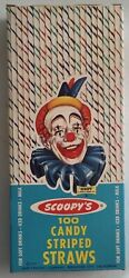 1963 Vintage Scoopyandrsquos Safe-t-cone Clown Icecream Candy-striped Straws 100-pack