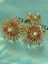 And Co 18k Gold Diamond Ruby Anemone Sea Coral Reef Earrings Pierced Rare