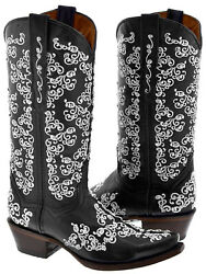 Womens Black Flowers Design Rhinestones Leather Cowboy Cowgirl Boots Rodeo