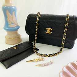 Vintage CHANEL Design Flap Turn-lock Chain Bag with Pouch Black