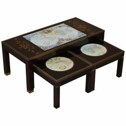 Stunning Coffee And Side Table Nest Of Tables Military Campaign With World Maps