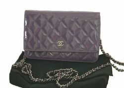 CHANEL Purple SILVER WOC WALLET ON CHAIN PATENT LEATHER QUILTED FLAP BAG PURSE