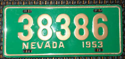 Vtg Wheaties Nevada 1953 Metal Bicycle License Plate Tag Collectible