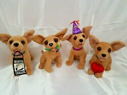 Lot Of 4 Vintage Official Taco Bell Talking Chihuahua Dogs Plush Toys Figures
