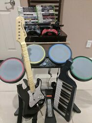 XBOX 360 Elite Bundle (with Games, Rock Band instruments, Controllers, etc.)