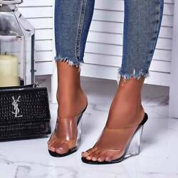 NEW Women's Transparent Clear PVC Open Toe Lucite Wedge Heel Slide Mules Sandals