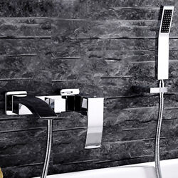 Wall-mount Angled Waterfall Spout Bathtub Faucet Set With Handshower In Chrome