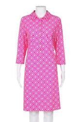 JUDE CONALLY Shift Dress Large Pink White Geo Print Button Down Stretch Gold