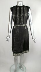 Nwt 100 Auth Rare Hiver 2010 Runway Lanvin Blk And Gold Lame Inside Out Dress 40