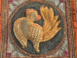 Vintage Ornate Detailed Hand Crafted Embroidered Rooster Pillow Cover Art Decor