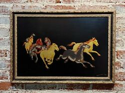 Wild Mustangs - Oil Painting And Gold Leafs Mix Media