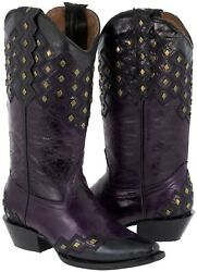 Womens Leather Cowboy Boots Purple Overlay Studs Embroidered Snip Toe