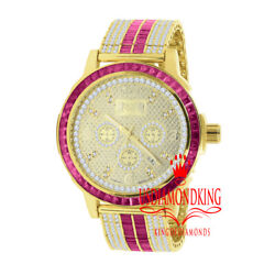 Stainless Steel Custom Bezel Gold Finish Watch Ruby Red Mens Real Diamond Dial