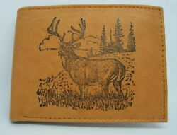 Mens Custom Leather Wallet w DEER HUNTINGLARGE BUCK Wildlife Image *Great Gift
