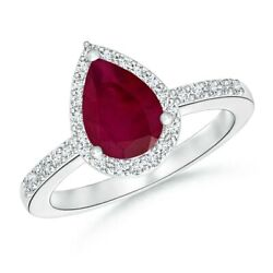 2.01ctw Pear Ruby Ring With Diamond Halo In 14k Gold/platinum