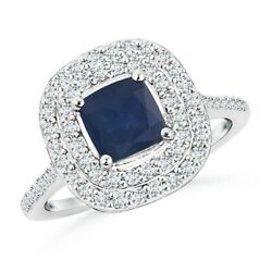 Cushion Sapphire Double Halo Engagement Ring With Diamonds In Gold/platinum