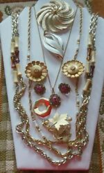 Vintage Sarah Coventry Gold-tone Jewelry Lot - Necklaces Earrings, Brooches
