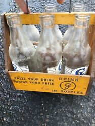 Cj Beverage New Albany Indiana 6 Glass Bottles And Wooden Crate Vintage Rare