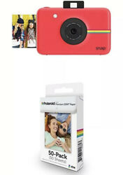 Polaroid Snap Instant Digital Camera Red And 2x3 Zink Zero Photo Paper 50-pack