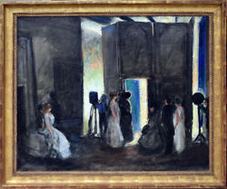 August Lundberg American 1878-1928 Behind The Stage Broadway Oil/canvas