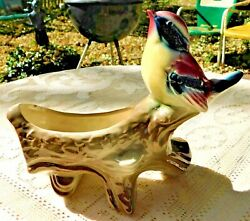 Vintage 1950's Hand Painted Royal Copley Pottery Colorful Bird On Limb Planter