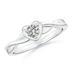 0.23ctw Criss-cross Solitaire Round Diamond Heart Promise Ring In Gold/platinum