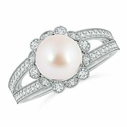 8mm Japanese Akoya Pearl And Diamond Ring With Floral Halo In Silver/gold