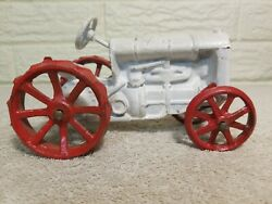 Vintage Fordson Red And White Cast Iron Toy Tractor 6 Long 4 Tall