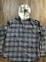 Heather Grey Wall Flannel Hood Embroidery Shirt Rare Made In Japan Mens Size Xl