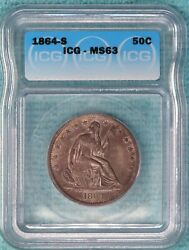 1864-s Ms-63 Seated Liberty Half Dollar Uncirculated Unc