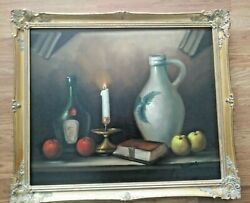 Painting Still Life W/stoneware Jug Lighted Candle Wine Bottle Book And Apples