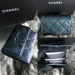 CHANEL Turquoise Caviar Flap Card Holder Wallet 18B Filigree Rainbow NWT NEW