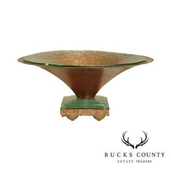 Studio Crafted Copper And Glass Round Bowl Center Piece