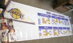 Rare And Gigantic Coors 1997 Los Angeles La Lakers Schedule Banner 9'6 X 36