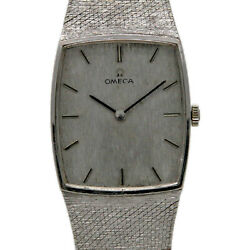 Omega Vintage 14k White Gold Silver Index 25mm Winding 2 Years Warranty 220-1